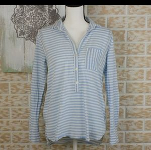 LOFT stried light blue and white tunic